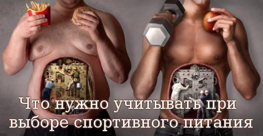 выборе спортивного питания